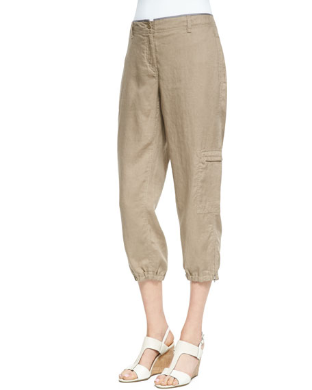 Organic Linen Cargo Ankle Pants