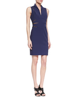 Catherine Malandrino Open-Back Mesh Cutout Cocktail Dress