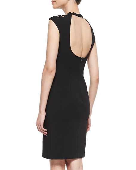 Open-Back Cutout Crepe Dress