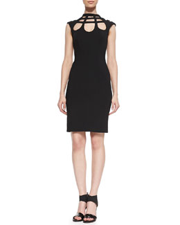 Catherine Malandrino Open-Back Cutout Crepe Dress