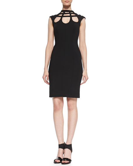 Open-Back Cutout Crepe Dress