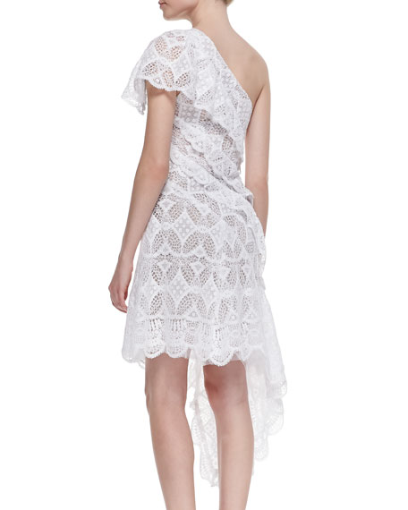 One-Shoulder Asymmetric Lace Cocktail Dress, Blanc