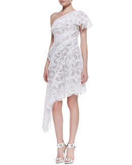 Catherine Malandrino One-Shoulder Asymmetric Lace Cocktail Dress, Blanc