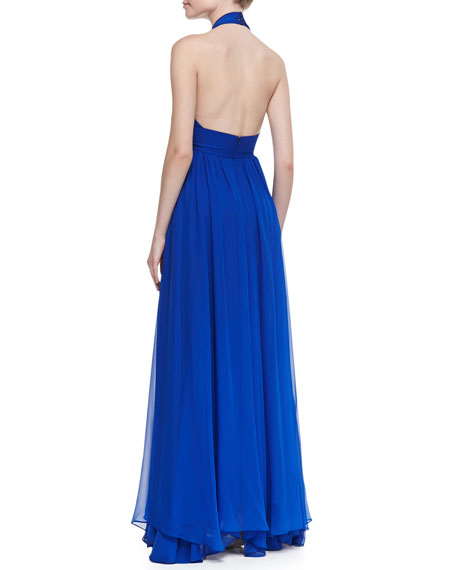 Silk Halter Beaded-Waist Gown