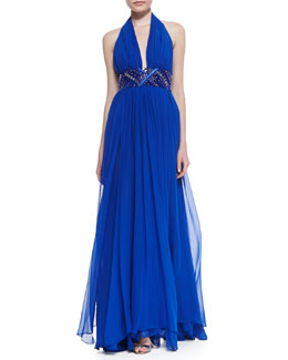 Catherine Malandrino Silk Halter Beaded-Waist Gown
