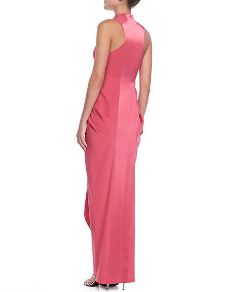 Sleeveless Ruffle-Front Gown, Fuchsia