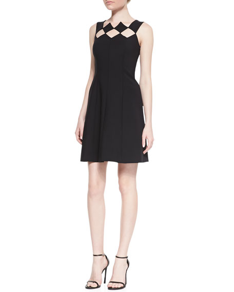 Sleeveless Diamond Bodice Fit & Flare Dress, Noir
