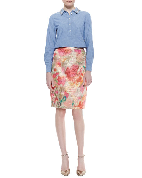 marit floral print pencil skirt, multicolor