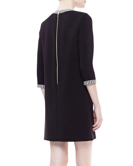 wray houndstooth-trim shift dress, black/white