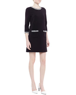 kate spade new york wray houndstooth-trim shift dress, black/white