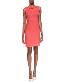kate spade new york terri sleeveless fringe-collar sheath dress, geranium