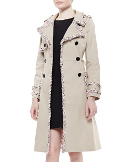 kate spade new york fontaine trench coat with fuzzy trim, beige