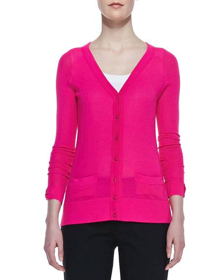 cary v-neck cardigan, bougainvillea pink