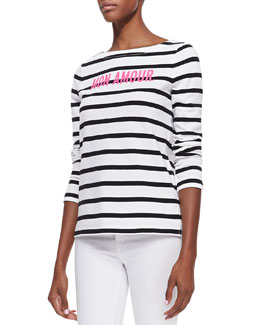 "kate spade new york roanne striped long sleeve ""mon amour"" top, cream/black"