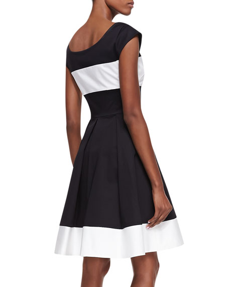 adette cap sleeves pleated dress, black/cream