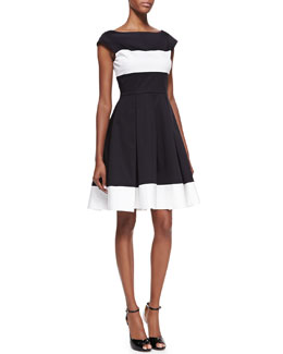 kate spade new york adette cap sleeves pleated dress, black/cream