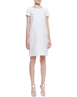 Lafayette 148 New York Jaedyn Stretch-Cotton Dress with Floral Cutouts