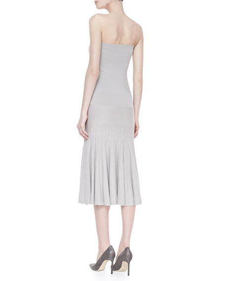 Strapless Pleated Infinity Skirt/Dress, Oyster