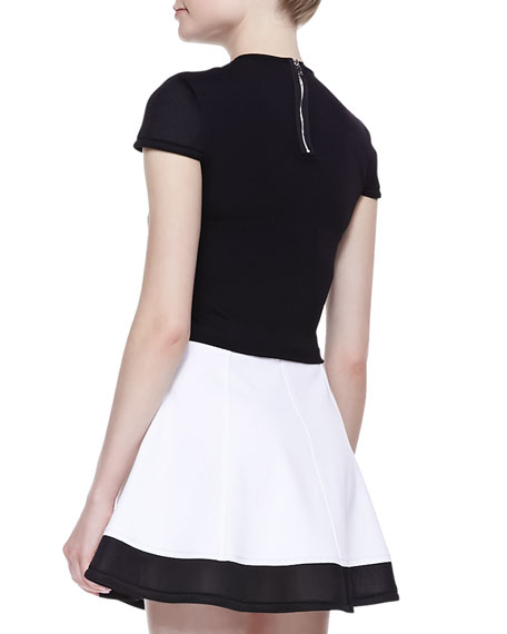 Cap-Sleeve Ponte Crop Top