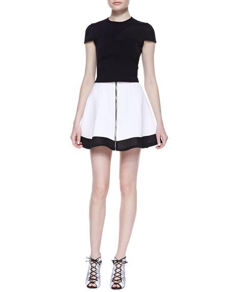 Mesh-Hem Front-Zip Skirt