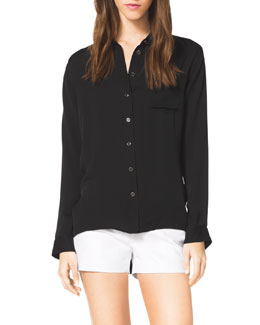MICHAEL Michael Kors  High-Low Silk Blouse