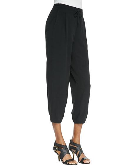Silk Drawstring Cropped Pants