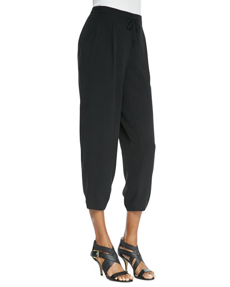 Silk Drawstring Cropped Pants, Women's