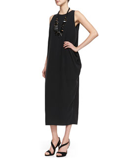Eileen Fisher Silk Georgette Long Dress
