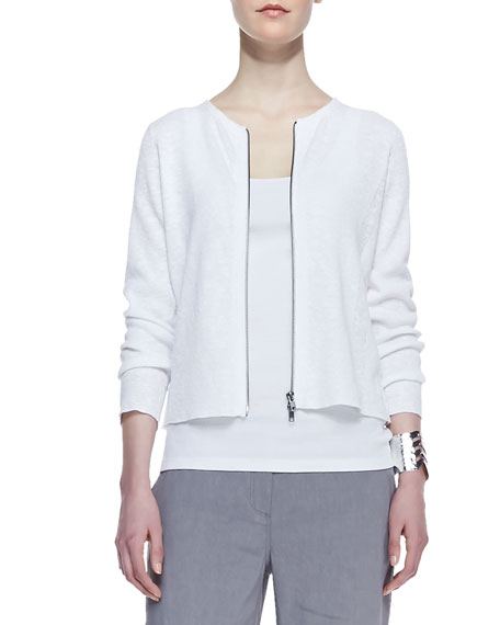 Polished Organic Zip-Front Cardigan, White