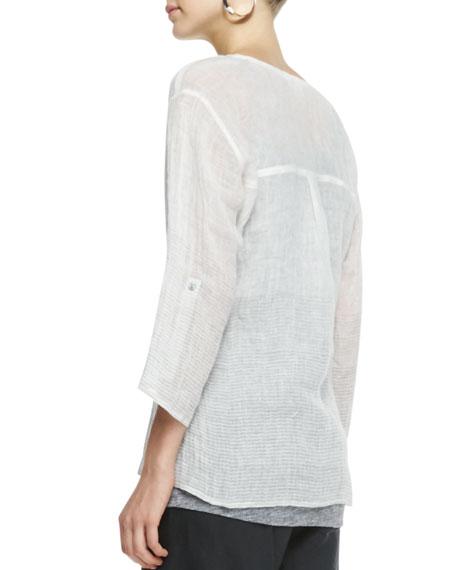Ombre Striped Linen Henley Shirt