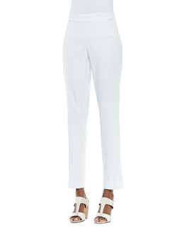 Eileen Fisher Organic Stretch Slim Zipper-Cuff Trousers