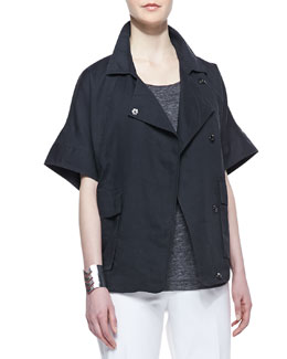 Eileen Fisher Organic Linen Short-Sleeve Jacket, Graphite