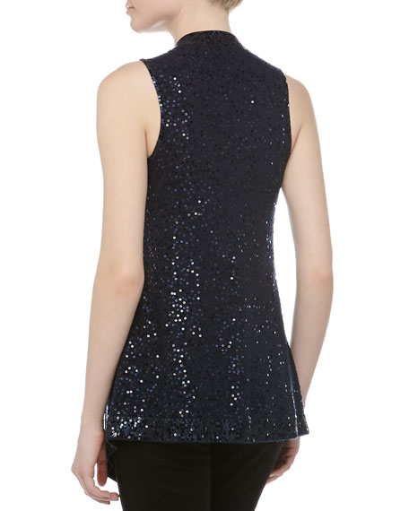 Sequined Draped Cashmere-Silk Vest, New Navy