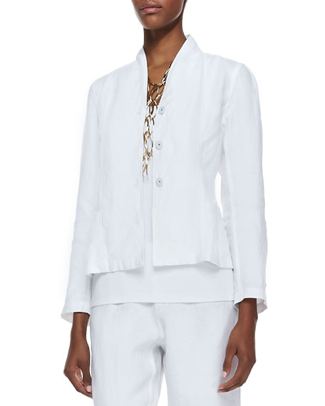 Long-Sleeve Linen Jacket, White