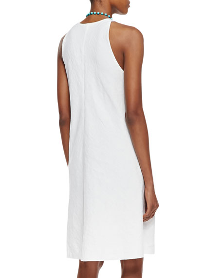 Organic-Linen Knee-Length Bias Dress, Women's