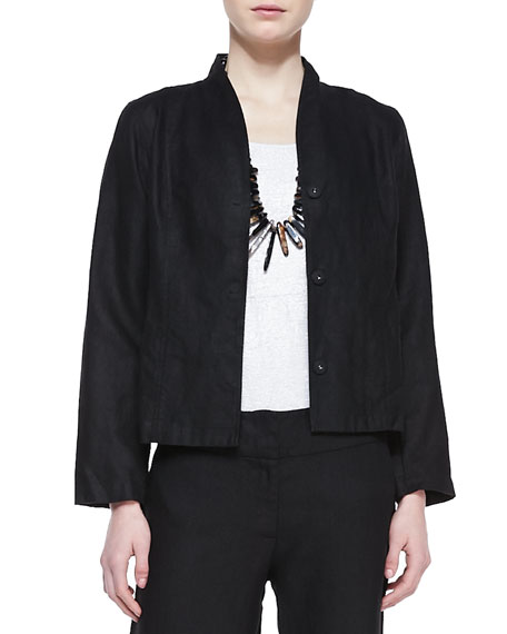 Long-Sleeve Linen Jacket, Black