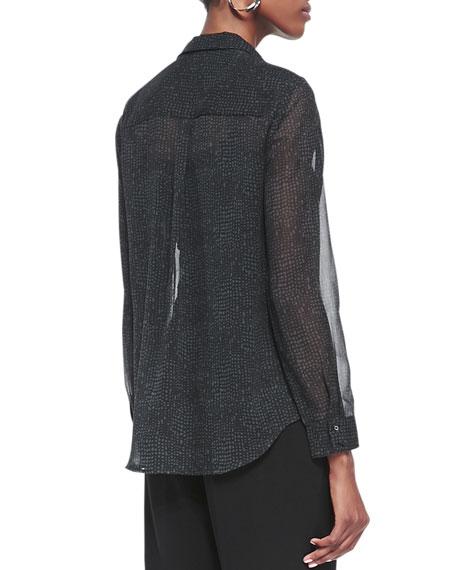 Thumbprint Long-Sleeve Silk Shirt, Petite