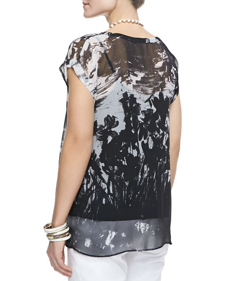 Painted-Chiffon Short-Sleeve Top
