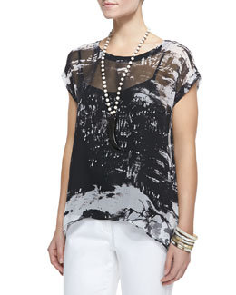 Eileen Fisher Painted-Chiffon Short-Sleeve Top