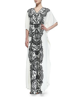 Naeem Khan Short-Sleeve Embroidered Caftan