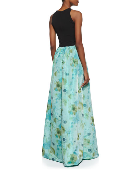 Sleeveless Cowl Neck Gown with Floral Skirt, Black/Turquoise/Green