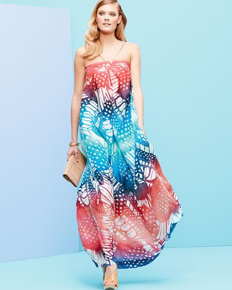 Annie Strappy Printed Maxi Dress, Coral/Multicolor