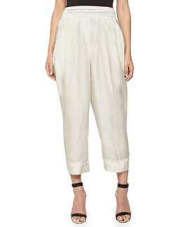 Donna Karan Draped Silk Pants, Sand