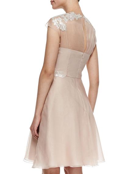 Lace Appliqué Shirt-Style Cocktail Dress, Blush