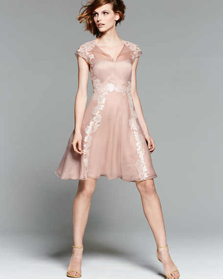 Lace Appliqué Shirt-Style Cocktail Dress, Blush