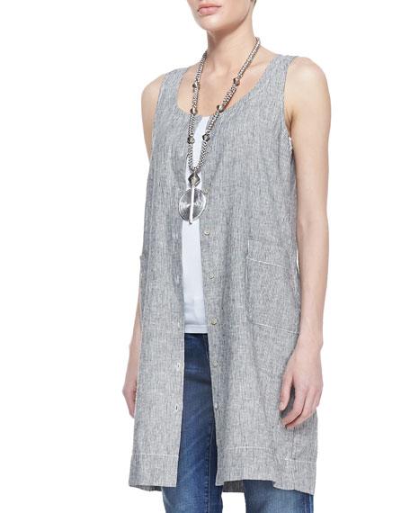 Sleeveless Striped Chambray Dress, Petite