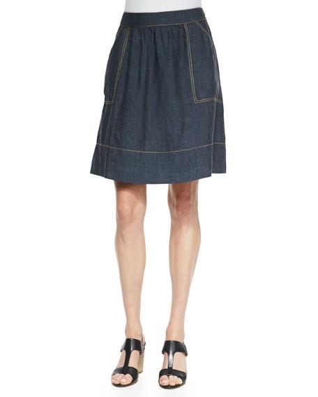 Linen Knee-Length Skirt, Denim