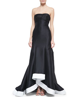 ML Monique Lhuillier Strapless Contrast-Hem High-Low Gown, Black/White