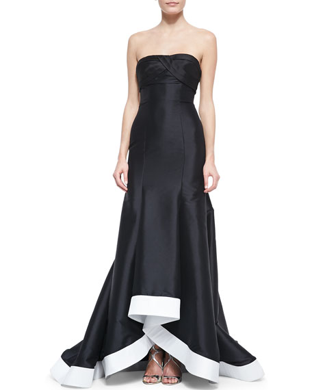 Strapless Contrast-Hem High-Low Gown, Black/White