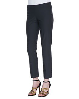 Eileen Fisher Washable Stretch-Crepe Ankle Pants, Graphite